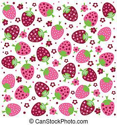seamless, textures, à, ornement, de, fraises, et, fleurs