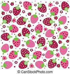 Seamless textures with ornament of strawberries and flowers...
