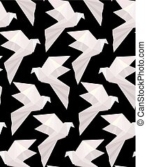 seamless, textuur, birds., origami, achtergrond., kosteloos, vector, 3d, papier, model, duiven, black , witte , vliegen