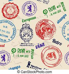 seamless, textuur, met, echte, stamps.