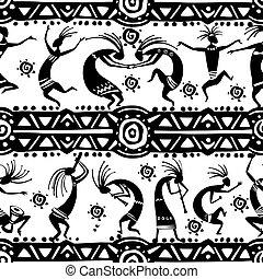 seamless, textuur, met, het dansen cijfers