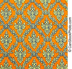 Seamless thai pattern on paper