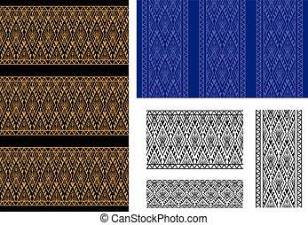 Seamless Thai tribal pattern and border