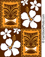 Seamless Tiki Tiles - Illustration of a seamless Luau Tiki...
