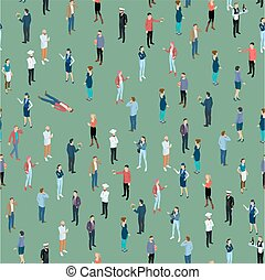 Seamless tile of people crowd isometric