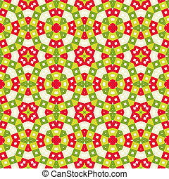 Seamless tile pattern in vivid festive christmas colors, kaleidoscope style
