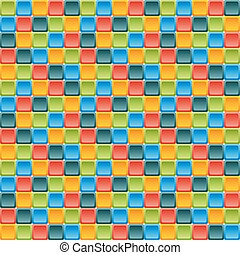 Seamless tile pattern made of rounded squares in vivid colors