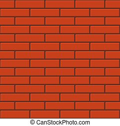Seamless Tiled Red Brick Wall. Vector