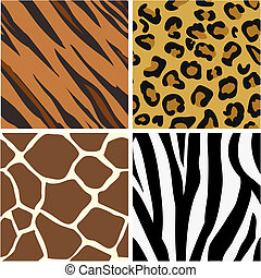 Seamless tiling animal print patterns of tiger, leopard, ...