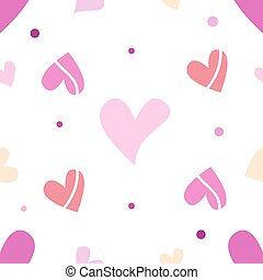 Seamless tiling romantic texture with pink hearts
