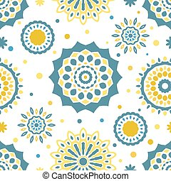 Seamless tiling texture with colorful mandalas