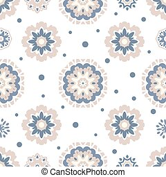 Seamless tiling texture with mandalas and dots