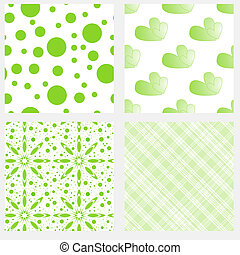 Seamless tiling textures collection - Green and white...