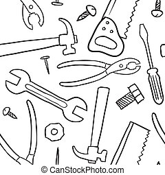 Seamless tool vector background - Doodle style mechanic, ...