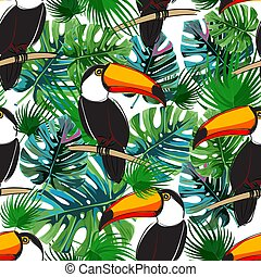 Seamless toucan pattern. Summer vector background with birds.