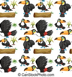 Seamless toucans and wooden log