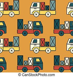 Seamless toy truck pattern with parcel.