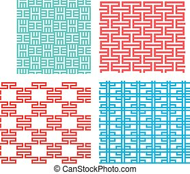Seamless tracery pattern in modern Korean style
