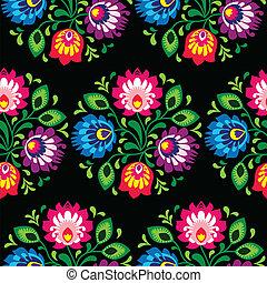 seamless, tradicional, floral, polaco