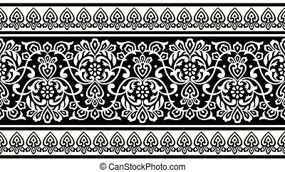 Seamless traditional black and white indian border
