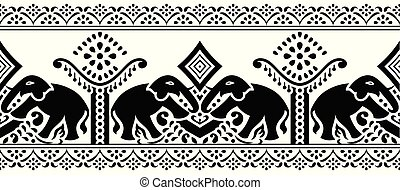 Seamless traditional indian elephant border