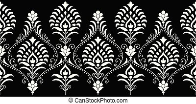 Seamless traditional indian monochrome border