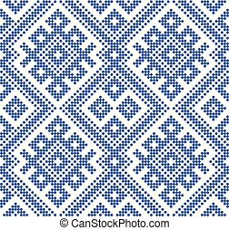 Seamless traditional Russian pattern. DISABLING LAYER, you can obtain seamless pattern. Made by blue circles.