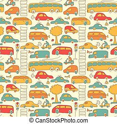 Seamless Transport Colored Pattern