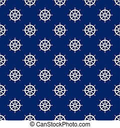 Seamless Travel Pattern with Boat's Wheel