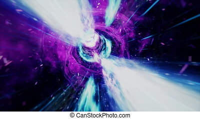 Seamless travel through a wormhole through time and space...