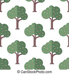 seamless tree of love with pink heart pattern on white background