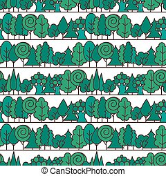 Seamless tree pattern. Background vector line ornament.