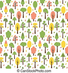 Seamless tree pattern in flat style. Cute background for your design. Autumn background