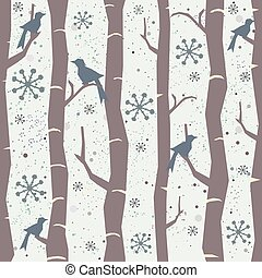Seamless Tree Pattern with big birds and snowflakes. Winter Design.