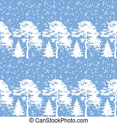 Seamless, trees silhouettes and snow
