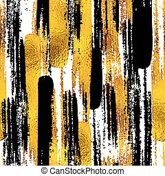Seamless trendy blog background textures with hand drawn gold and black ink design elements. Vector Eps10 illustration doodle sketch