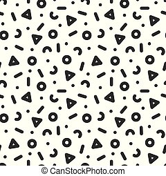 Seamless trendy pattern in retro memphis style, fashion 80s - 90s. Abstract geometric background.