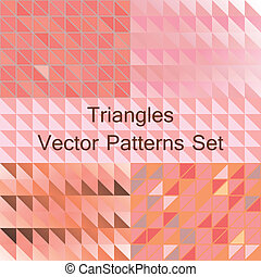 Seamless triangle patterns set, vector.