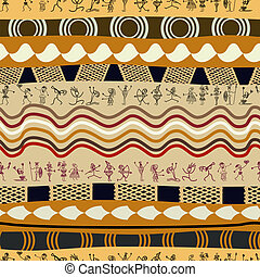 Seamless tribal pattern with silhouettes of the primitive people