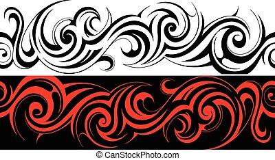 seamless, tribal, tatuaje, patrón, línea
