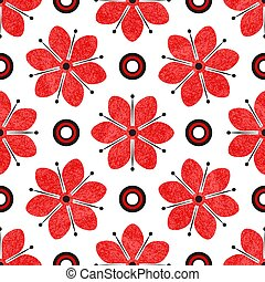Seamless tricolor pattern with red grunge flowers