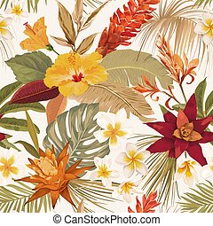 Seamless tropic floral autumn vector pattern. Elegant dry palm leaves, boho watercolor tropical flowers