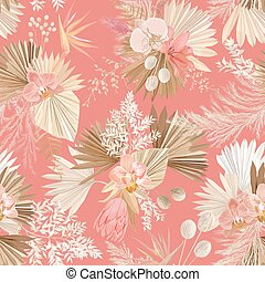 Seamless tropic floral pattern, pastel dry palm leaves, boho tropical flower, orchid, protea
