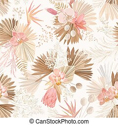 Seamless tropic floral pattern, pastel dry palm leaves, watercolor boho tropical flower, orchid, protea