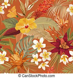 Seamless tropic floral vector texture. Boho dry palm leaves, watercolor tropical flowers pattern