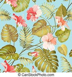 seamless, tropicais, flower.