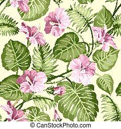 seamless, tropicais, pattern.