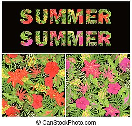 Seamless tropical colorful summery wallpapers with pair of flamingo, exotic floral pattern and summer lettering for t-shirt, fabric, textile, wrapping paper