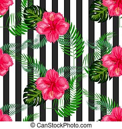 seamless tropical flowers with brush stripe pattern background