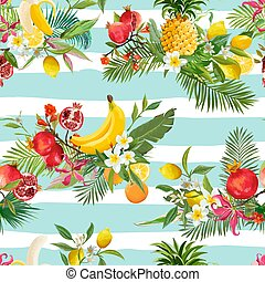 Seamless Tropical Fruits Pattern. Exotic Background with Pomegranate, Banana, Flowers and Palm Leaves for Wallpaper, Wrapping Paper, Fabric. Vector illustration